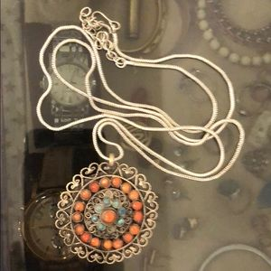Jewelry - Vintage Silver Necklace with Turquoise
